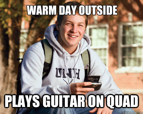 warm day outside plays guitar on quad - College Freshman