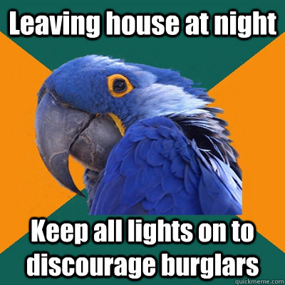 leaving house at night keep all lights on to discourage burg - Paranoid Parrot