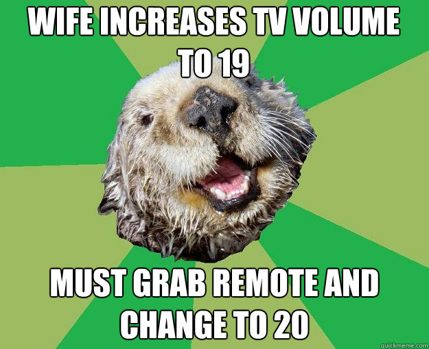 wife increases tv volume to 19 must grab remote and change t - OCD Otter