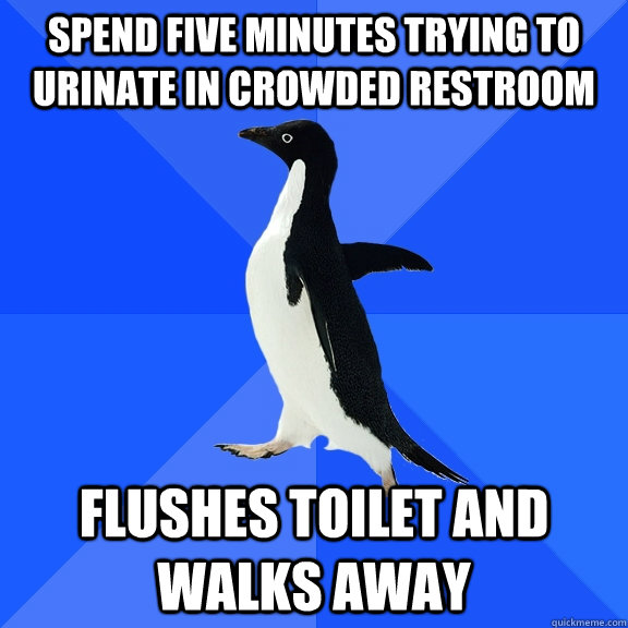 spend five minutes trying to urinate in crowded restroom fl - Socially Awkward Penguin