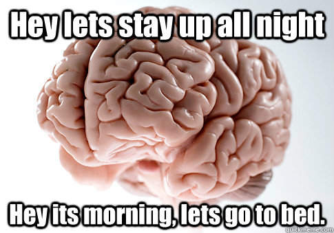 hey lets stay up all night hey its morning lets go to bed  - Scumbag Brain