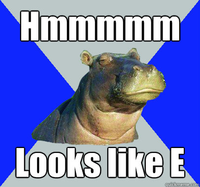 hmmmmm looks like e - Skeptical Hippo