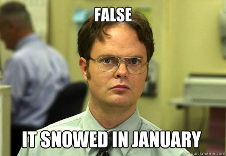 false it snowed in january - Dwight