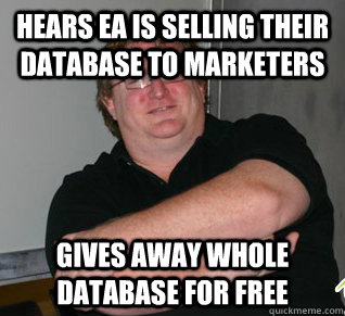 hears ea is selling their database to marketers gives away w - Good Guy Gabe