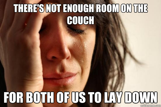 theres not enough room on the couch for both of us to lay d - First World Problems