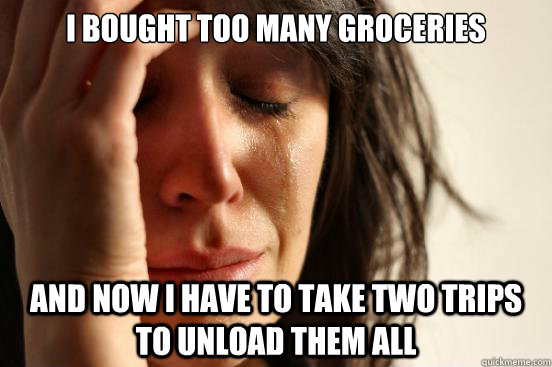 i bought too many groceries and now i have to take two trips - First World Problems