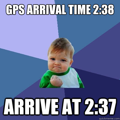 gps arrival time 238 arrive at 237 - Success Kid