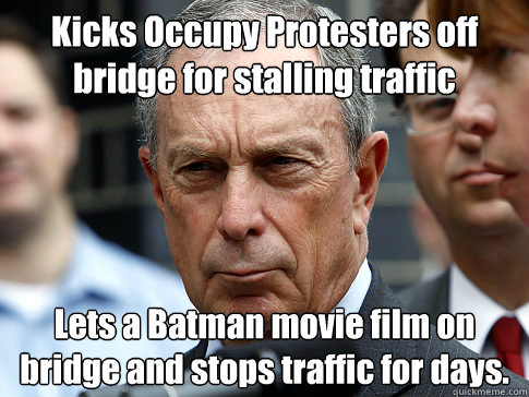 kicks occupy protesters off bridge for stalling traffic lets - Scumbag Mayor