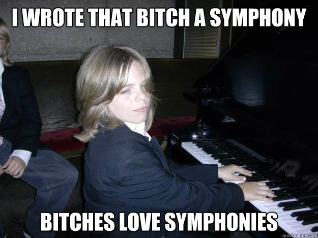 i wrote that bitch a symphony bitches love symphonies - Randall Piano Man