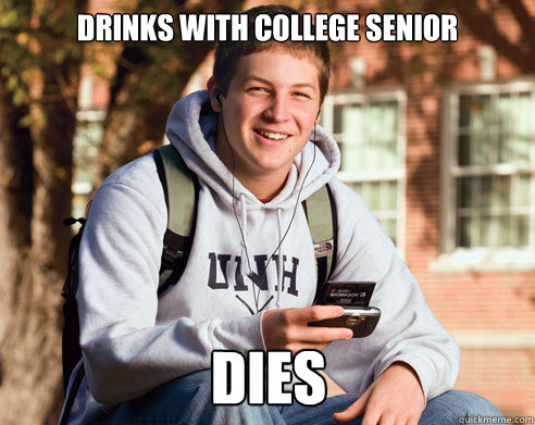 drinks with college senior dies - College Freshman