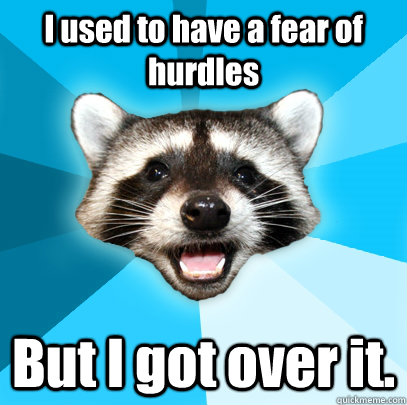 i used to have a fear of hurdles but i got over it - Lame Pun Coon