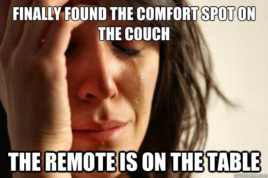 finally found the comfort spot on the couch the remote is on - First World Problems