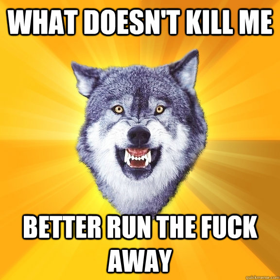 what doesnt kill me better run the fuck away - Courage Wolf