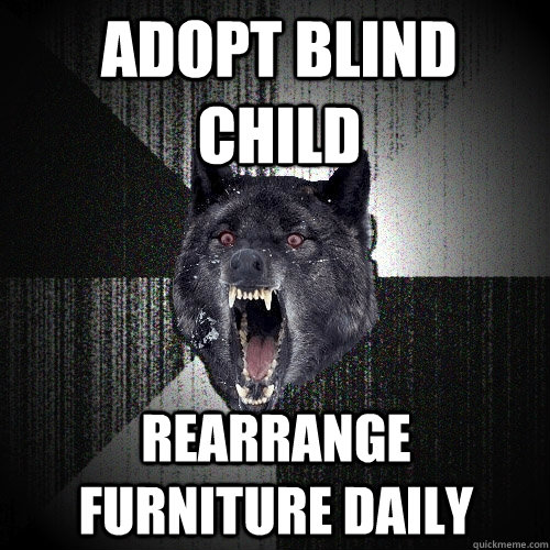 adopt blind child rearrange furniture daily - Insanity Wolf