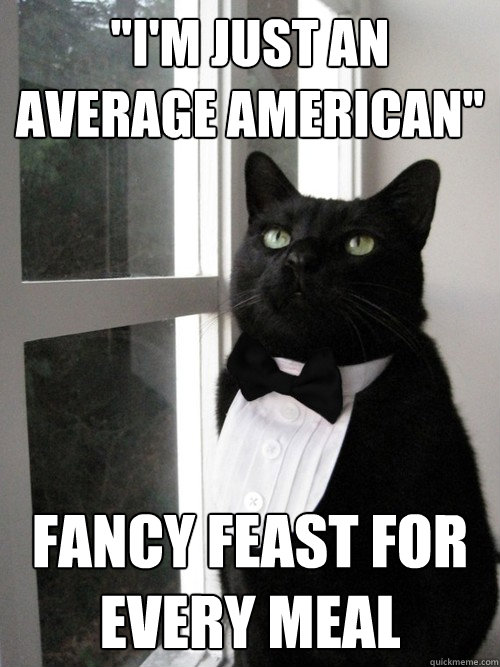 im just an average american fancy feast for every meal - 1% Cat