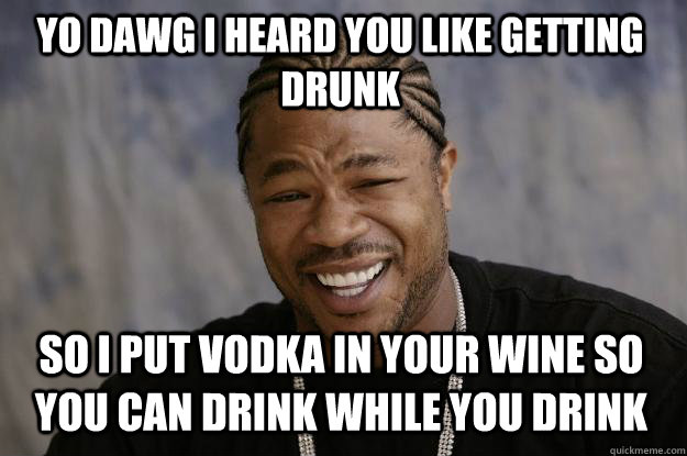 yo dawg i heard you like getting drunk so i put vodka in you - Xzibit meme