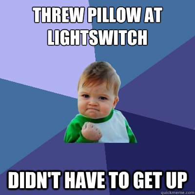 threw pillow at lightswitch didnt have to get up - Success Kid