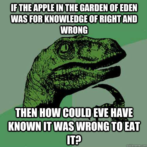 if the apple in the garden of eden was for knowledge of righ - Philosoraptor