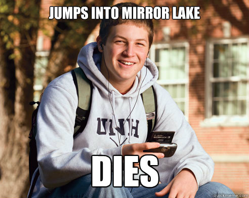 jumps into mirror lake dies - College Freshman