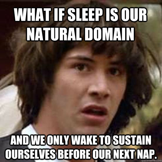 what if sleep is our natural domain and we only wake to sust - conspiracy keanu
