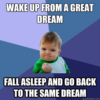 wake up from a great dream fall asleep and go back to the sa - Success Kid