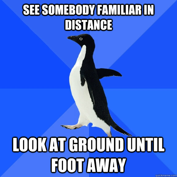 see somebody familiar in distance look at ground until foot  - Socially Awkward Penguin
