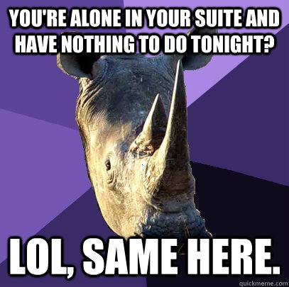 youre alone in your suite and have nothing to do tonight l - Sexually Oblivious Rhino
