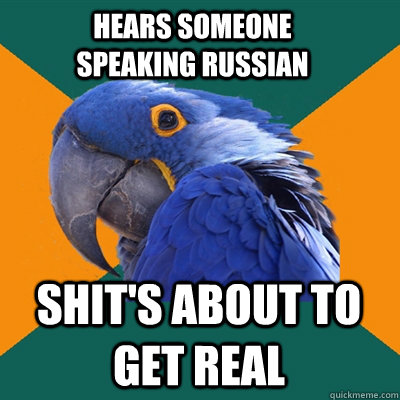 hears someone speaking russian shits about to get real - Paranoid Parrot