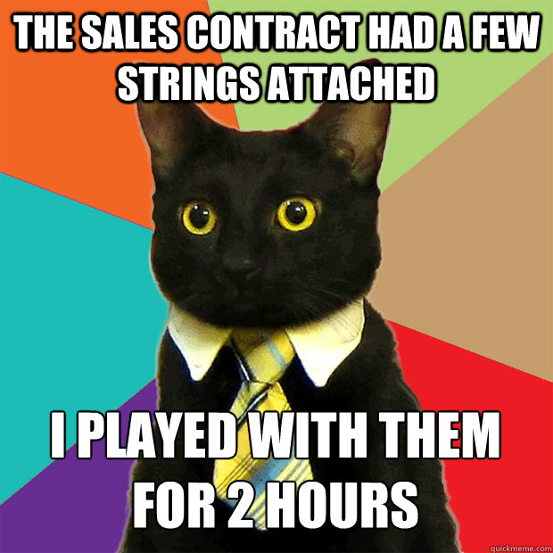 the sales contract had a few strings attached i played with  - Business Cat
