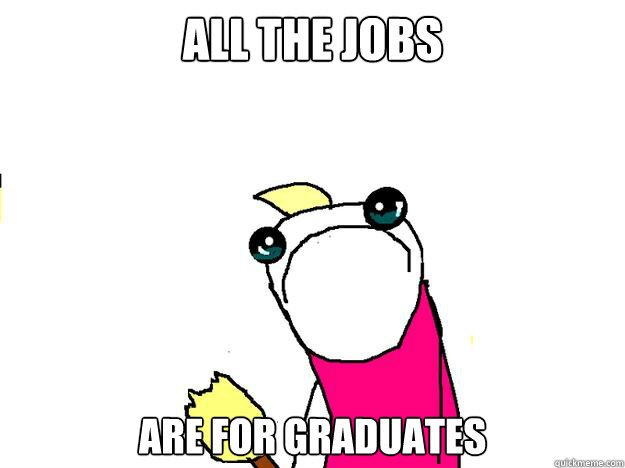 all the jobs are for graduates - All the things sad