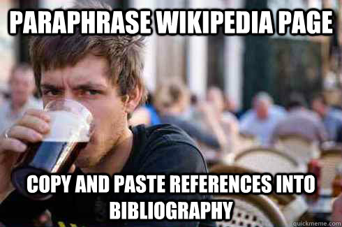 paraphrase wikipedia page copy and paste references into bib - Lazy College Senior