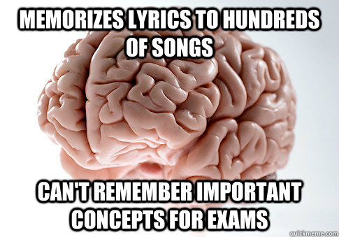 memorizes lyrics to hundreds of songs cant remember importa - Scumbag Brain