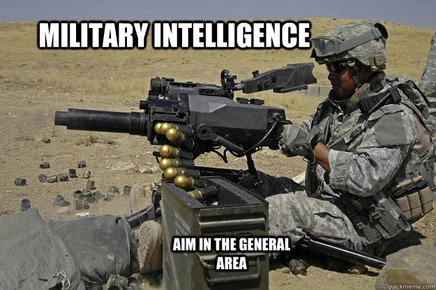 Military intelligence aim in the general area - military intelligence