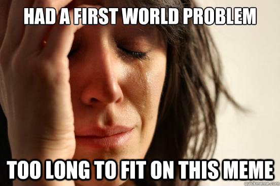 had a first world problem too long to fit on this meme - First World Problems