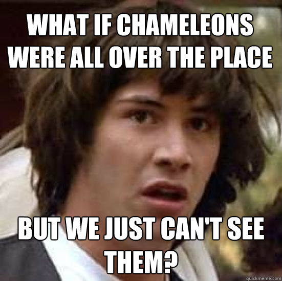 what if chameleons were all over the place but we just cant - conspiracy keanu
