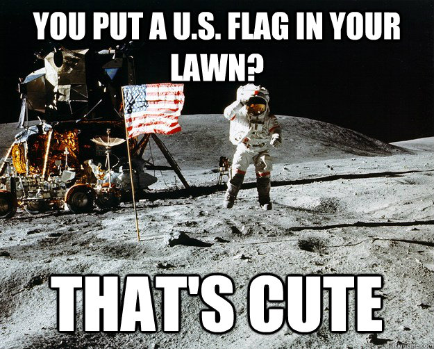 you put a us flag in your lawn thats cute - Unimpressed Astronaut