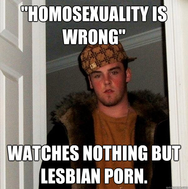 homosexuality is wrong watches nothing but lesbian porn - Scumbag Steve