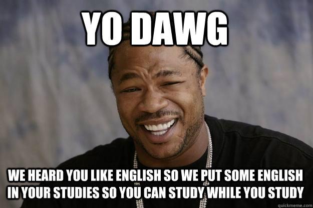Funny Meme Hashtags : Yo dawg we heard you like english so put some