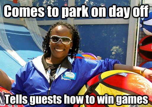 comes to park on day off tells guests how to win games - Cedar Point employee