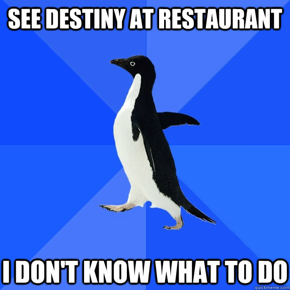 see destiny at restaurant i dont know what to do - Socially Awkward Penguin