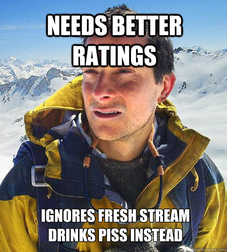 needs better ratings ignores fresh stream drinks piss instea - Bear Grylls