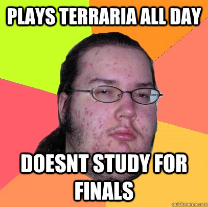 plays terraria all day doesnt study for finals - Butthurt Dweller