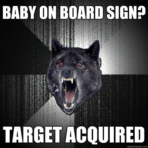 baby on board sign target acquired  - Insanity Wolf