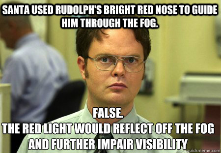 santa used rudolphs bright red nose to guide him through th - Schrute
