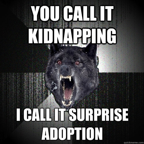 you call it kidnapping i call it surprise adoption - Insanity Wolf