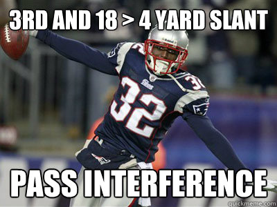 3rd and 18 4 yard slant pass interference - Scumbag Patriots Defense