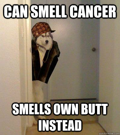 can smell cancer smells own butt instead - Scumbag dog