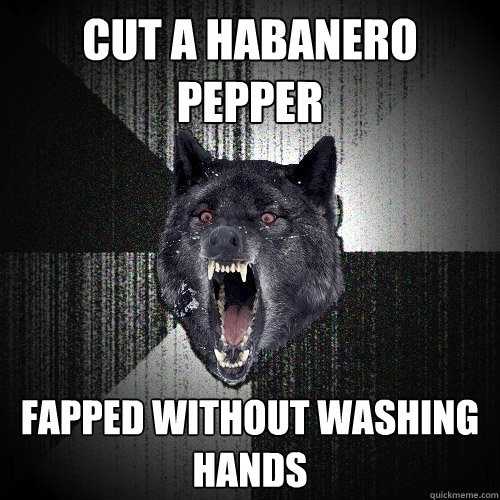 cut a habanero pepper fapped without washing hands - Insanity Wolf