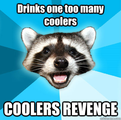 drinks one too many coolers coolers revenge - Lame Pun Coon