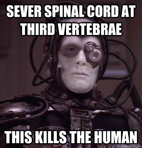 sever spinal cord at third vertebrae this kills the human - Crosis
